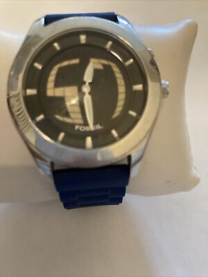 $75 • Buy Fossil Big Tick Cuff Blue Silicone Band Men's Watch JR-8122