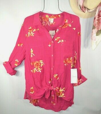 $ CDN47.19 • Buy Fig And Flower Anthropologie Women's XL Pink Embroidered Floral Boho Top Blouse