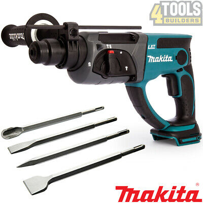 £125 • Buy Makita DHR202Z Cordless SDS+ Rotary Hammer Drill With 4 Pieces Drill Chisel Set