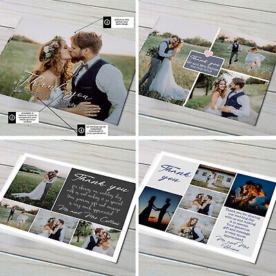 £2.99 • Buy Personalised Wedding Thank You Cards With Photo + Envelopes