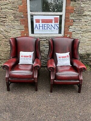 £1000 • Buy *Vintage Pair Of Oxblood Leather Chesterfield Wing Back Chairs FREE DELIVERY 🚚