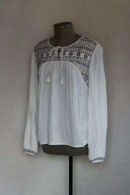 AU9.07 • Buy SUNCOO White Bohemian Embroidered Blue Floral Top Size M