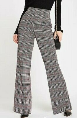 £15 • Buy River Island Red Check Wide Leg Trousers Size 12