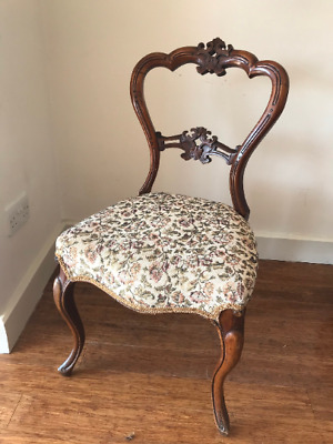 £45 • Buy Antique Victorian Carved Balloon Back Chair. Wooden  - Bedroom Hall Upholstered