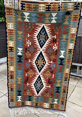 £269.99 • Buy VINTAGE MEXICAN AZTEC RUG 185 X 102cm. THICK, HAND MADE WOVEN RUG WOOL ETHNIC