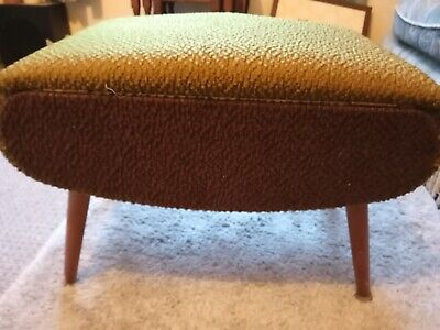 £55 • Buy Original VINTAGE Upholstered SEWING BOX SEAT, STOOL On Legs + ANTIQUE CONTENTS