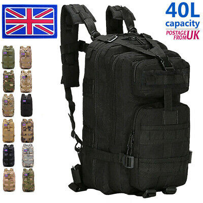 £17.89 • Buy 40L Military Tactical Army Backpack Rucksack Camping Hiking Trekking Outdoor Bag