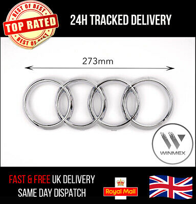 £19.99 • Buy Audi Front Grille Chrome Badge Rings A4 A5 A6 S3 S4 S5 RS3 RS4 273mm X 94mm