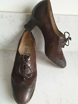 AU45.34 • Buy *STUNNING**20s 30s 40s Flapper Landgirl Style Brown Suede Brogue Shoes UK 5 6
