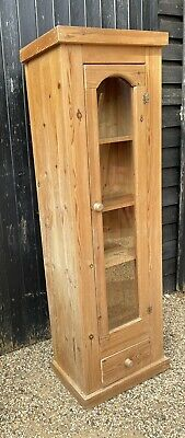 £125 • Buy Narrow Pine Glass Fronted Bookcase Display Cabinet