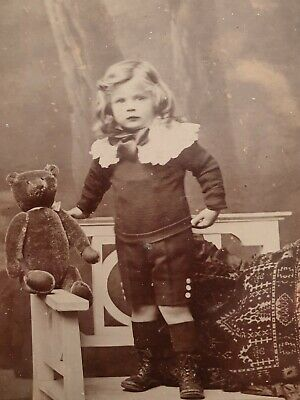 £6.99 • Buy Cabinet Card Of A Young Boy Named Clifford Pilcher With Teddy Bear. Jersey Photo