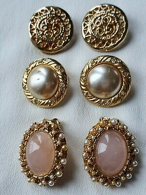 £5.99 • Buy 3 Pairs Of Vintage Clip On Earrings: Gold Tone Pink Cabochon, Pearl & Rhinestone
