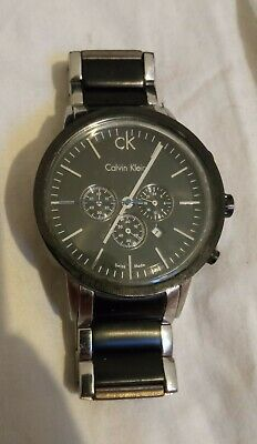 £5.50 • Buy Calvin Klein Mens Quartz Watch  - Black And Silver - Needs New Battery