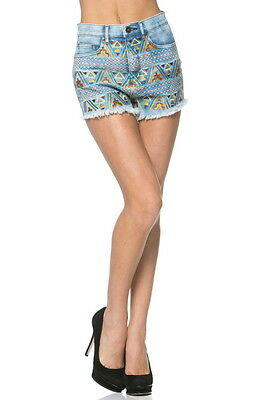 £14.53 • Buy Aztec Bohemian Embroidered Frayed Denim Jean Shorts