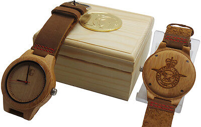 £39.95 • Buy RAF ROYAL AIR FORCE Crest Wooden Wrist Watch Luxury Leather Crested Military