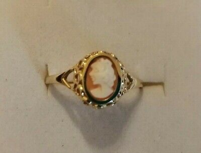 £19.95 • Buy Vintage 9ct Small Shell Cameo Ring Size Q/R 1.4 Gms