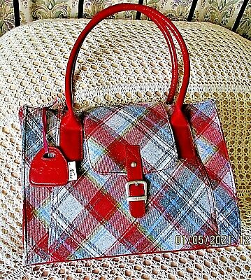 £19.99 • Buy Grey, Red & Multi Tartan Check Hand/ Shoulder Bag By NESS Wool Mix With Red Trim