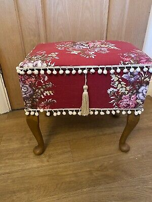 £20 • Buy Vintage Red Floral Flower Fabric Covered Sewing Box Stool On Wooden Legs