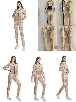 £14.99 • Buy  Ladies Hooded New Check Printed Design 2 Piece Suit Set Tracksuit Top& Bottom