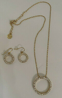 $9.99 • Buy Sarah Coventry ETERNITY Necklace & Earrings Set, Gold Tone Metal, Clear Crystals