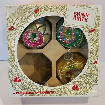 $ CDN17.91 • Buy Lot 3 Vintage Shiny Brite Double Indents Holiday Christmas Ornaments Imperfect