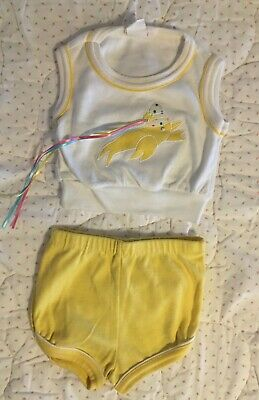 £10.11 • Buy VTG 1982 Baby Girls Clothes Yellow Short 2-Piece Set 6 9 12 Mos ? Dolphin Whale