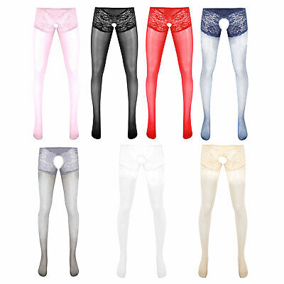 $18.01 • Buy Men's Nylon Tights Sexy Open Crotch Pantyhose Pants Footed Lingerie Underwear