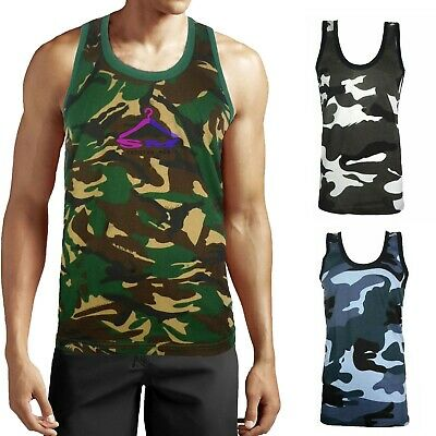 £4.99 • Buy Mens Camouflage Vest Sleeveless Muscle Top Military Jungle Combat Army Gym Shirt
