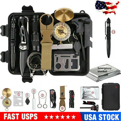 $19.99 • Buy 13-In-1 Outdoor Emergency Survival Kit Camping Hiking Tactical Gear Backpack
