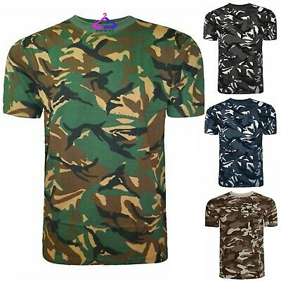 £6.49 • Buy Mens Camouflage T Shirt Top Vest Camo Military Hunting Army Combat Fishing M-xl