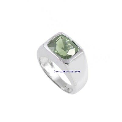 £70 • Buy Natural Green Amethyst  Gemstone With 925 Sterling Silver Ring For Men's