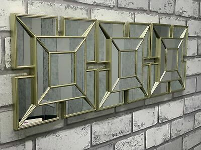 £17.50 • Buy SET OF 3 Square Gold ART DECO Arched Wall MIRRORS WALL ART Tile Look Gold MIRROR