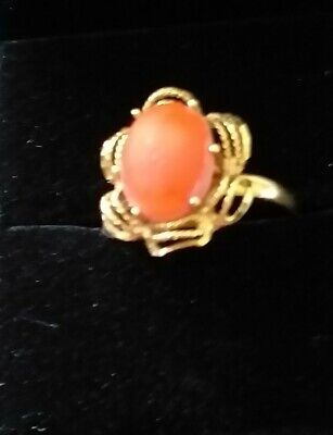 £16 • Buy 585 (14k) Gold With Coral Stone Size N US 6 3/4