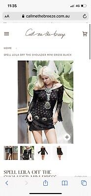 AU40 • Buy Spell Designs Leila Off The Shoulder Black Crochet Mini Dress Size S/M
