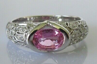 AU1659.75 • Buy 18ct Diamond Ring - 18ct White Gold Oval Pink Sapphire & Diamond Ring Size N
