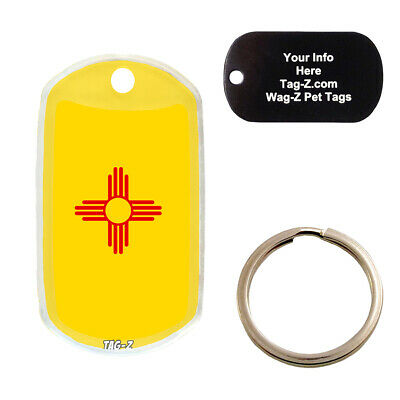 $10 • Buy NEW MEXICO FLAG - CUSTOMIZED - PET TAG - MILITARY Shape - Tag-Z Dog Tags