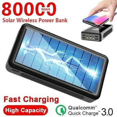 AU65.32 • Buy 80000mAh Wireless Power Bank Solar Powered Four USB Output Ports Fast Charger