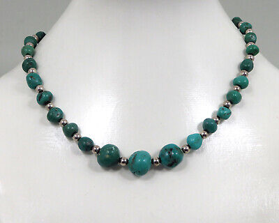 £86.23 • Buy Turquoise Silver Chain Navajo Jewelry 925 Sterling Indian Jewelery Necklace
