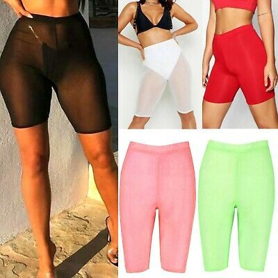 £7.04 • Buy Women's Ladies See Through Plain Stretch Mesh Active Gym Sports Cycling Shorts