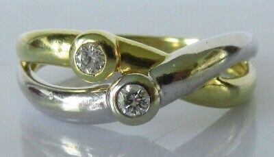£325 • Buy 18ct Diamond Ring - 18ct Two Tone Gold 2 Stone Diamond Crossover Ring Size M 1/2