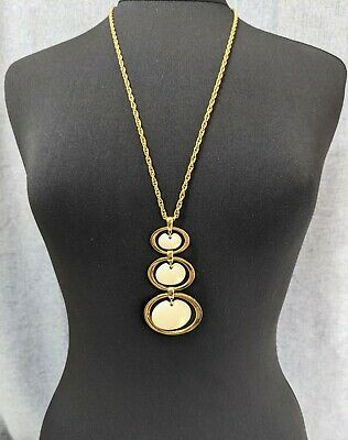 £65 • Buy Lovely Vintage Cream And Gold Tone Pendant Necklace By Trifari Jewellery