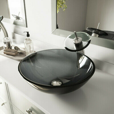 £149.99 • Buy Black Glass Basin Sink With Matching Round Glass Waterfall Tap Bathroom Luxury