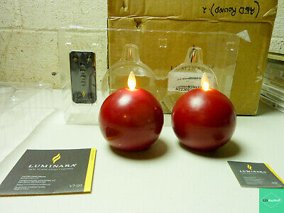£21.73 • Buy Luminara Set Of 2 Round Wax-Covered Candles With Remote - Red