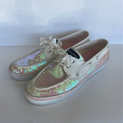 $34.99 • Buy Sperry Top-Sider Womens Boat Shoes Silver Fabric Lace Up Sequin Moc Toe 8 M