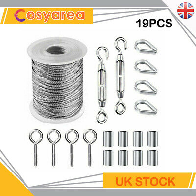 £9.95 • Buy 15M 2mm Stainless Steel Wire Rope Cable Hooks Hanging Kit Set - 19Pcs - UK Stock