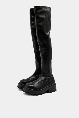 £16.99 • Buy Topshop TRUTH Black Chunky Over The Knee Boots Goth EMO UK8 EU41