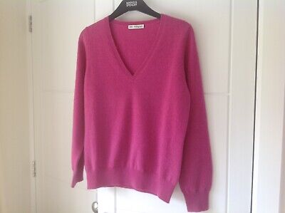 £28 • Buy M&s Autograph Pure Cashmere Deep Pink V-neck Sweater, New Size 10