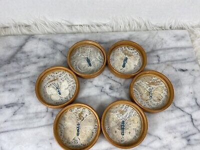 £17.70 • Buy Vintage Wood Pressed Butterfly Coasters Bamboo Neutral Natural Wings Set Of 6
