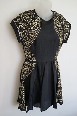 AU54 • Buy Alice Mccall Black S/s Dress With Gold Floral Embroidery…size 8…vgc…