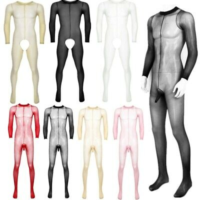 $15.98 • Buy Men Lingerie Soft Tights Full Body Stocking Crotchless Footed Stretchy Pantyhose